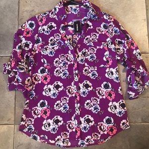 NWT Express women's Portofino Blouse XS floral